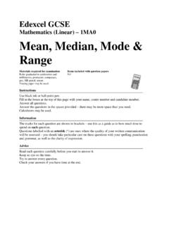 Mathematics (Linear) 1MA0 Mean, Median, Mode …