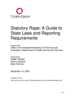 Statutory Rape: A Guide to State Laws and Reporting ...