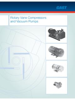 Rotary Vane Compressors and Vacuum Pumps - Gast