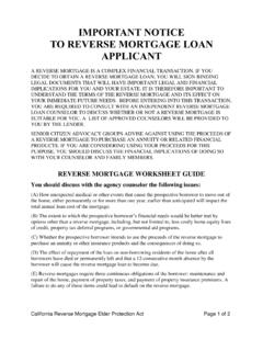 IMPORTANT NOTICE TO REVERSE MORTGAGE LOAN …