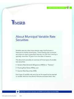 About Municipal Variable Rate Securities - MSRB