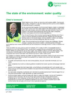 The state of the environment: water quality