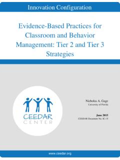 Evidence-Based Practices for Classroom and Behavior ...
