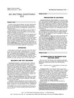 85 BACTERIAL ENDOTOXINS Change to read: TEST …