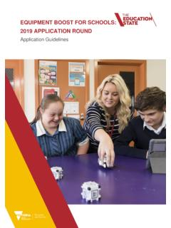 EQUIPMENT BOOST FOR SCHOOLS: 2019 APPLICATION ROUND