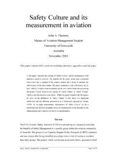 Safety Culture and its measurement in aviation - ASASI