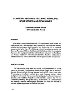 Foreign Language Teaching Methods. Some Issues and New …