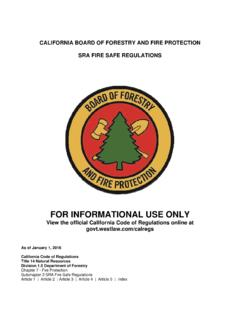 FIRE SAFE REGULATIONS 2016 - CAL FIRE - Home