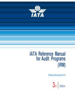 IATA Reference Manual for Audit Programs (IRM)