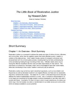 The Little Book of Restorative Justice by Howard Zehr