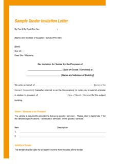 Sample Tender Invitation Letter - ICAC
