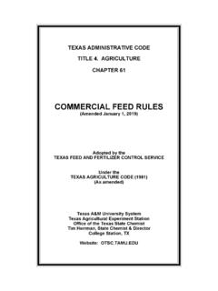 TEXAS ADMINISTRATIVE CODE TITLE 4. AGRICULTURE …