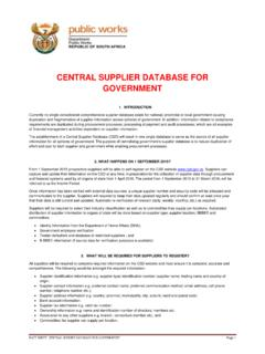 CENTRAL SUPPLIER DATABASE FOR GOVERNMENT