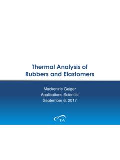 Thermal Analysis of Rubbers and Elastomers