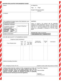 SHIPPER'S DECLARATION FOR DANGEROUS GOODS