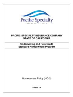PACIFIC SPECIALTY INSURANCE COMPANY STATE OF …