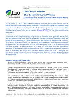 Questions & Answers Ohio-Specific Universal Wastes