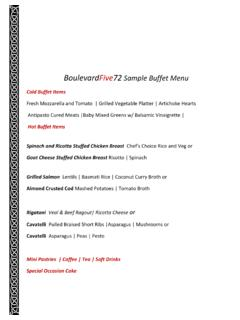 BoulevardFive72 Sample Buffet Menu