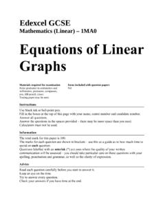 Mathematics (Linear) – 1MA0 Equations of Linear …