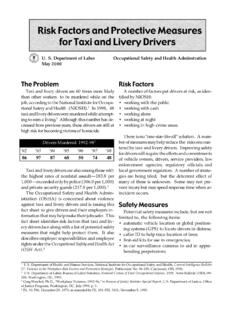 Risk Factors and Protective Measures for Taxi and Livery ...
