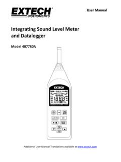 Integrating Sound Level Meter - Extech Instruments