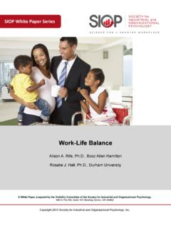 Work Life Balance - Welcome to SIOP