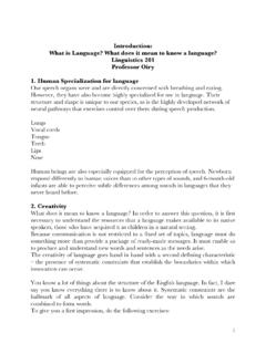 Introduction: What is Language? What does it …