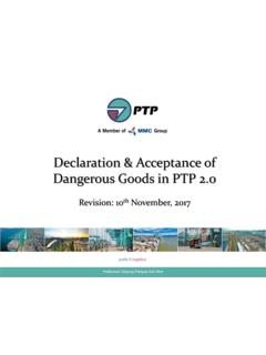 Declaration & Acceptance of Dangerous Goods in PTP 2