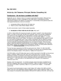 Re: CEC 2012 Article by: Ark Tsisserev, Principal, Stantec ...