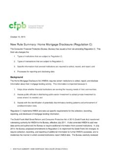 New Rule Summary: Home Mortgage Disclosure …