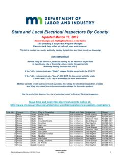 State and Local Electrical Inspectors By County