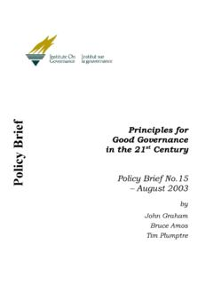 Principles for Policy Brief in the 21 Good …